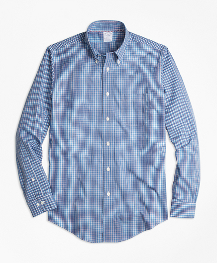 Non-Iron Regent Fit Blue Mini-Check Sport Shirt