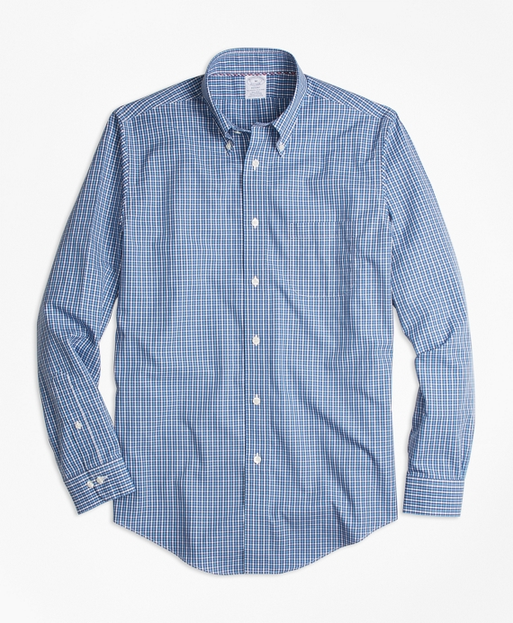 Non-Iron Regent Fit Blue Mini-Check Sport Shirt Blue