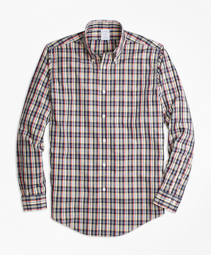 Non-Iron Regent Fit Mini-Madras Sport Shirt
