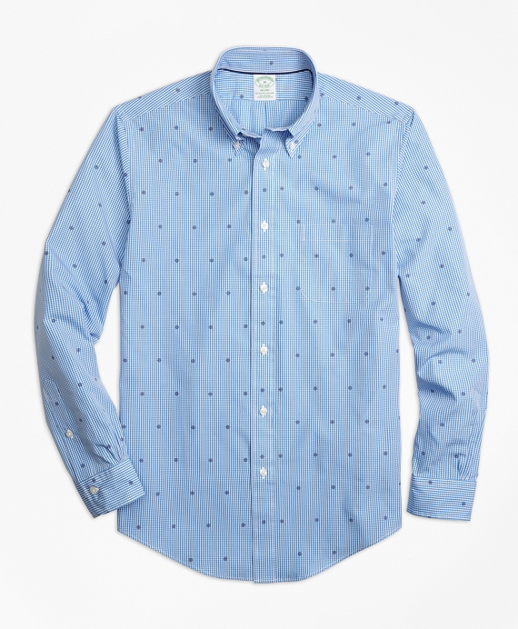 Milano Fit Gingham with Ship's Wheel Print Sport Shirt Blue