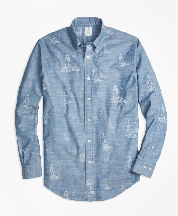 Milano Fit Lighthouse Print Sport Shirt Chambray