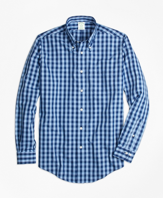 Non-Iron Milano Fit Gingham Sport Shirt Navy