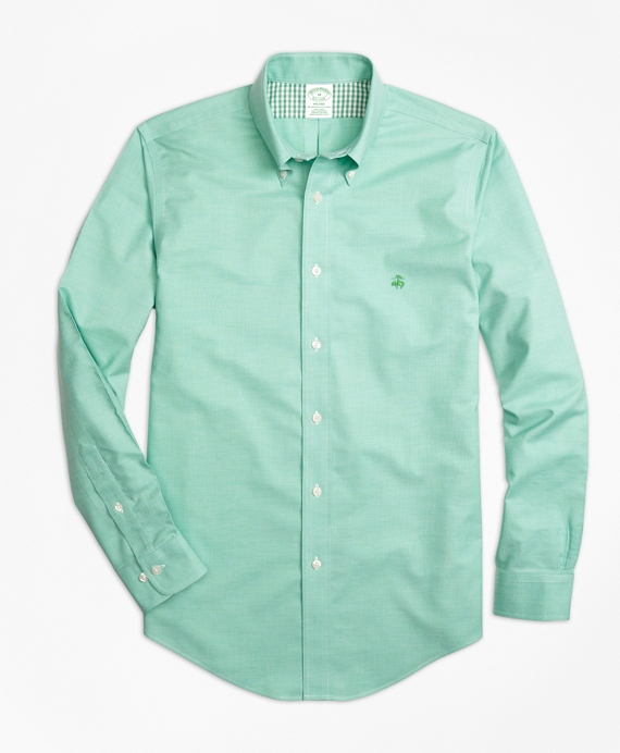 Non-Iron Milano Fit Heathered Oxford Sport Shirt Green