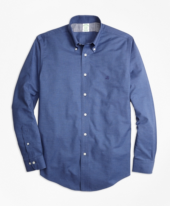 Non-Iron Milano Fit Heathered Oxford Sport Shirt Navy