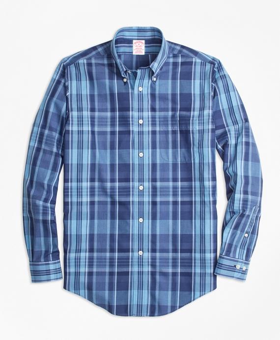 Non-Iron Madison Fit Madras Sport Shirt Blue