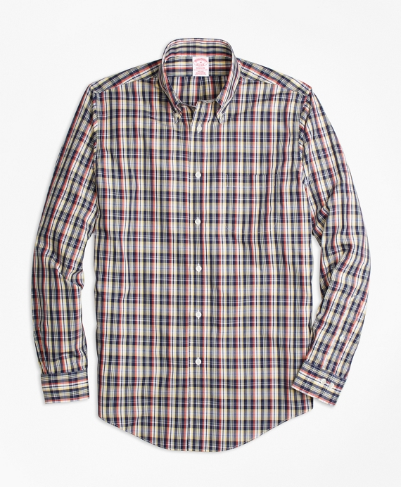 Non-Iron Madison Fit Mini-Madras Sport Shirt Multi