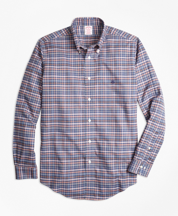 Non-Iron Madison Fit Heathered Multi-Plaid Sport Shirt Navy Multi