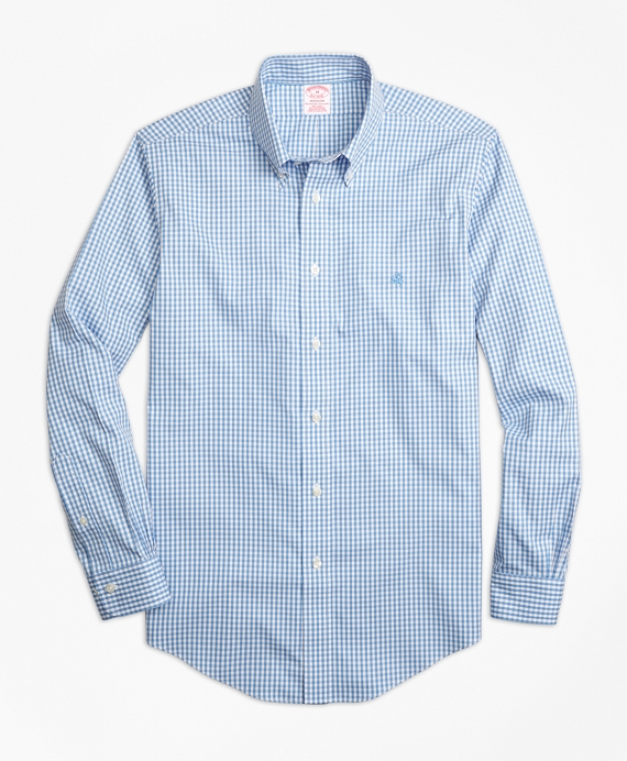 Non-Iron Madison Fit Gingham Sport Shirt Blue