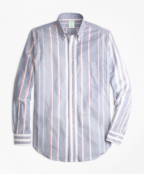 Milano Fit Oxford Bold Stripe Sport Shirt Blue
