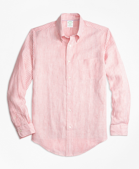 Milano Fit Stripe Irish Linen Sport Shirt Red