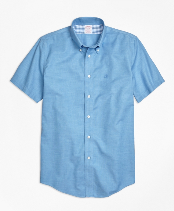 Non-Iron Madison Fit Heathered Oxford Short-Sleeve Sport Shirt Blue