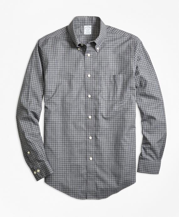 Non-Iron Regent Fit Herringbone Tattersall Sport Shirt Grey