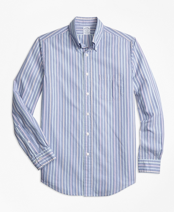 Regent Fit Alternating Stripe Seersucker Sport Shirt Blue Multi