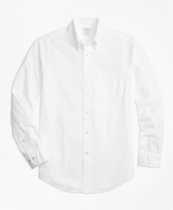 Regent Fit Seersucker Sport Shirt White