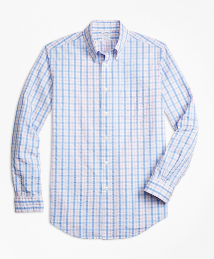 Regent Fit Light-Blue Check Seersucker Sport Shirt