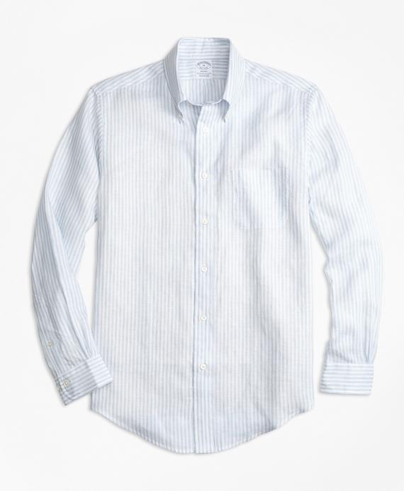 Regent Fit Stripe Irish Linen Sport Shirt Blue