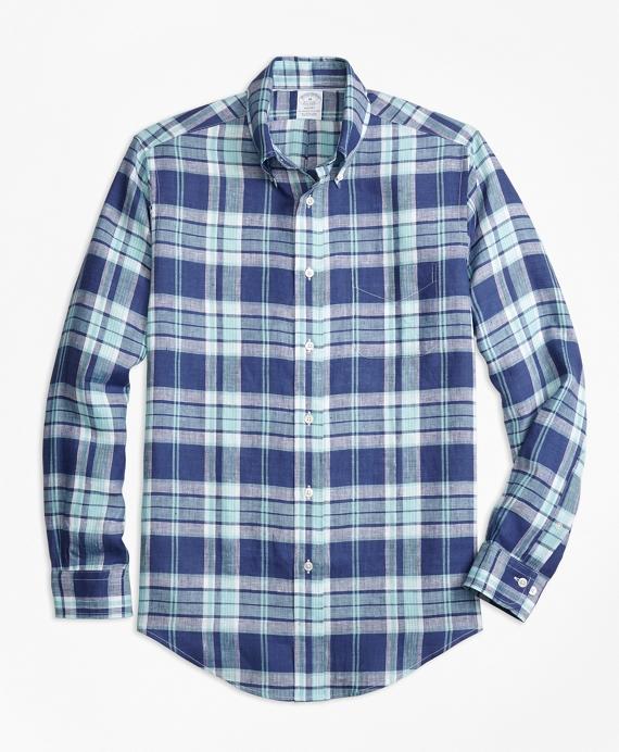 Regent Fit Blue Plaid Irish Linen Sport Shirt Blue