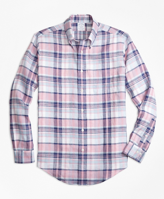 Regent Fit Pink Plaid Irish Linen Sport Shirt Pink