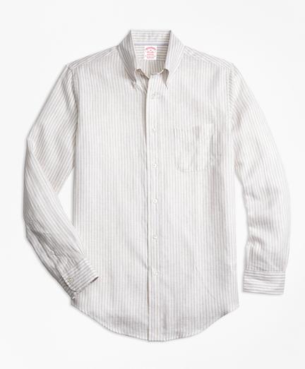 Regent Fit Safari Stripe Irish Linen Sport Shirt