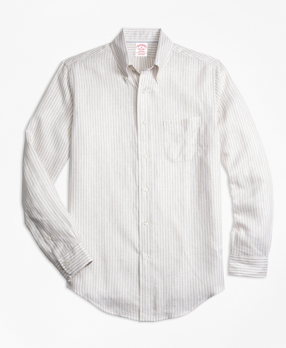 Regent Fit Safari Stripe Irish Linen Sport Shirt White-Khaki