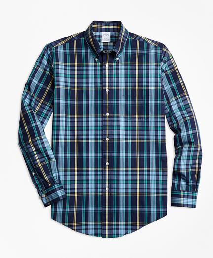 Regent Fit Slub Cotton Dark-Blue Plaid Sport Shirt