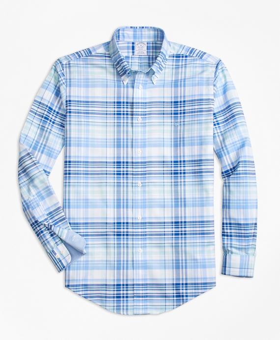 Non-Iron BrooksCool® Regent Fit Plaid Sport Shirt Blue