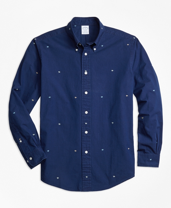 Regent Fit Dobby Palm Tree Sport Shirt Blue