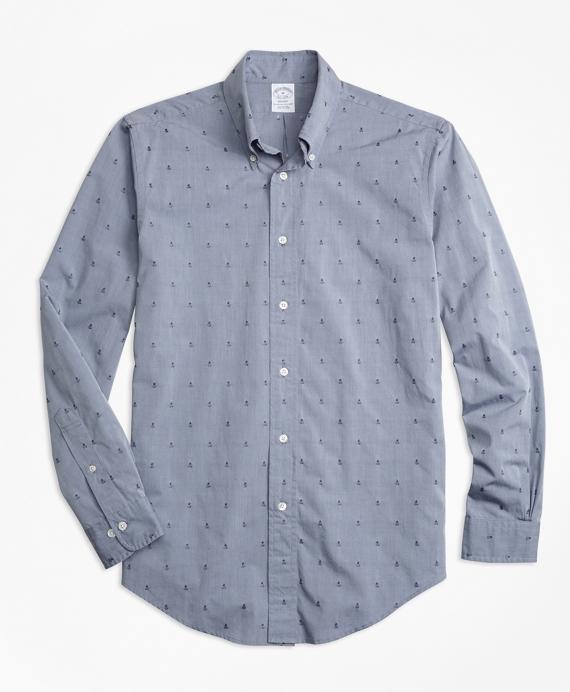 Regent Fit Dobby Pineapple Sport Shirt Navy