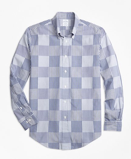 Regent Regular-Fit Sport Shirt, Dobby Patchwork