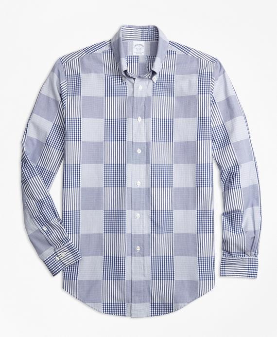 Regent Fit Dobby Patchwork Sport Shirt Blue