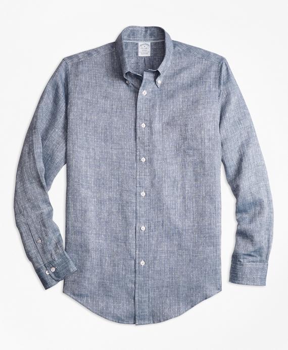 Regent Fit Dobby Dot Irish Linen Sport Shirt Blue