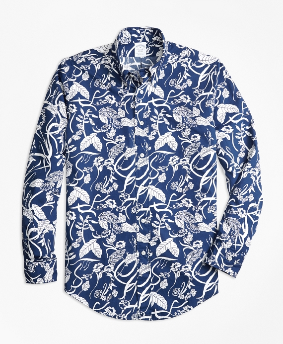 Regent Fit Tropical Print Sport Shirt Dark Blue