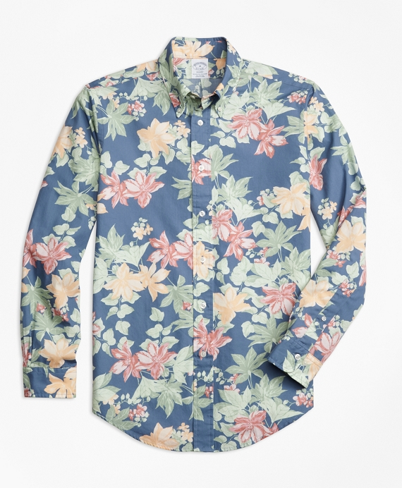Regent Fit Tropical Floral Print Sport Shirt by Brooks Brothers