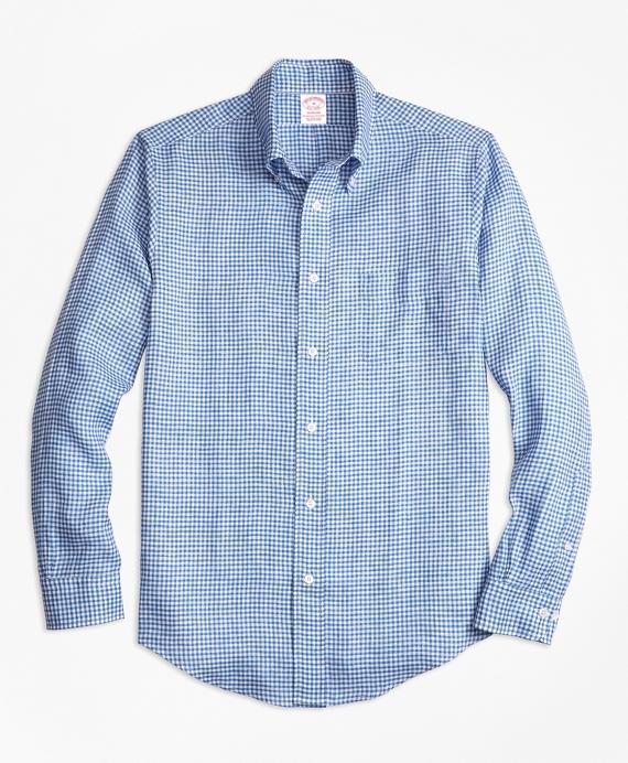 Madison Fit Gingham Irish Linen Sport Shirt Blue