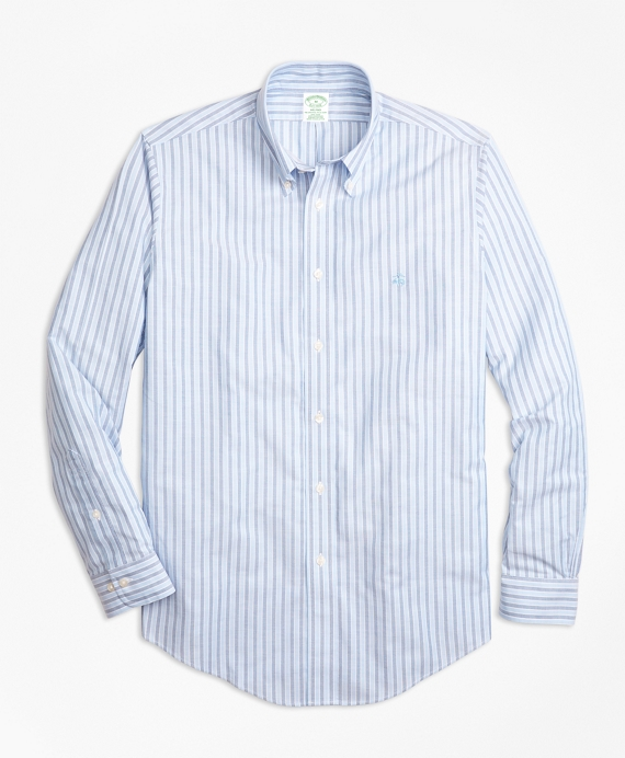 Non-Iron BrooksCool® Milano Fit Stripe Sport Shirt Blue