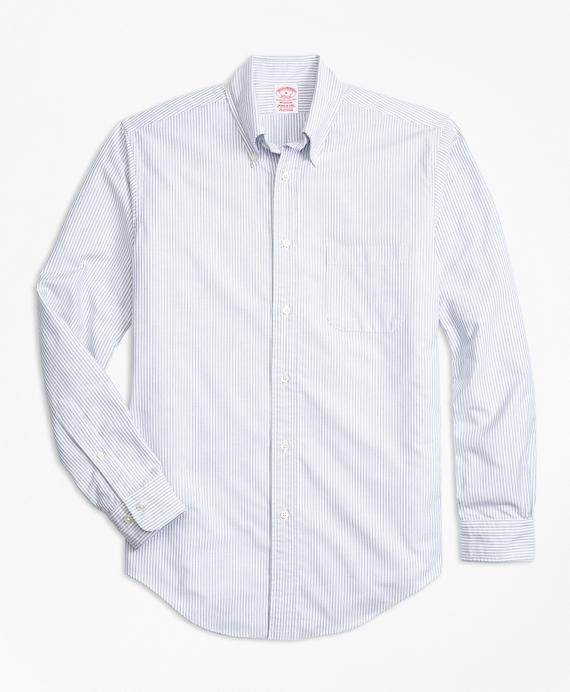 Madison Fit Oxford Bengal Stripe Sport Shirt Blue