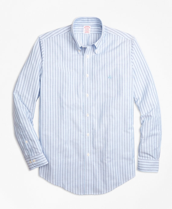 Non-Iron BrooksCool® Madison Fit Stripe Sport Shirt Blue