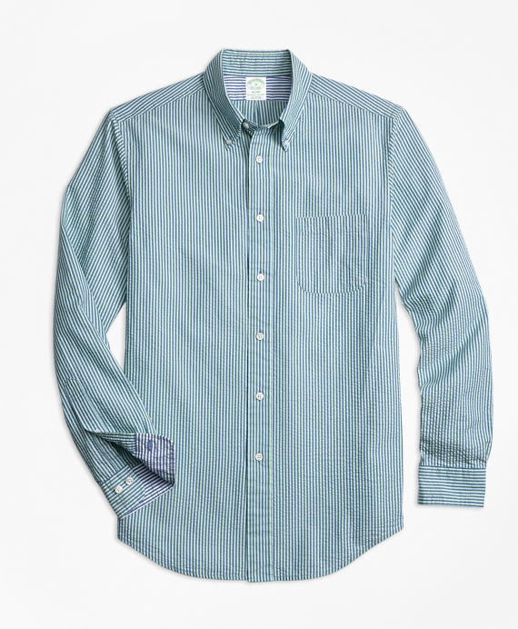 Milano Fit Stripe Seersucker Sport Shirt Blue-Green