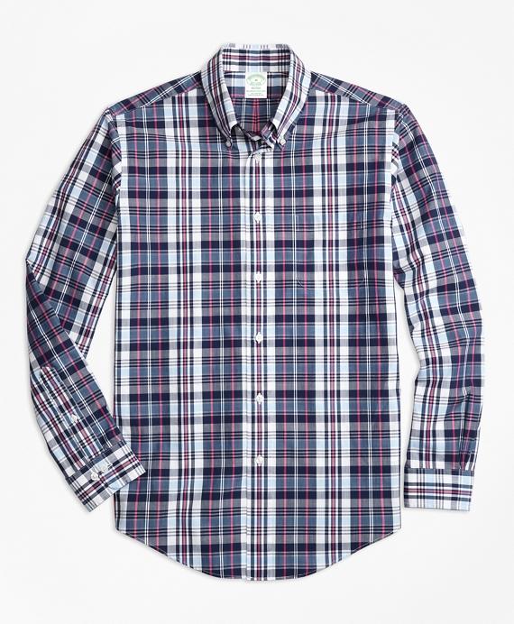 Milano Fit Slub Cotton Plaid Sport Shirt Blue
