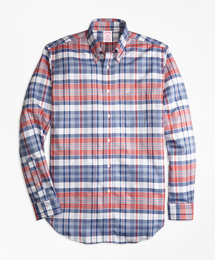Madison Fit Oxford Madras Plaid Sport Shirt