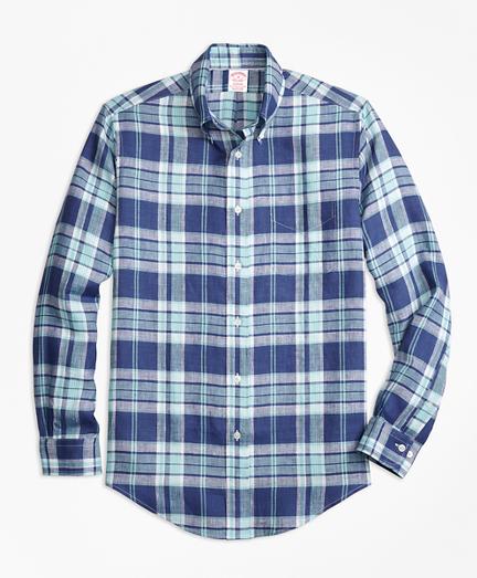 Madison Fit Blue Plaid Irish Linen Sport Shirt