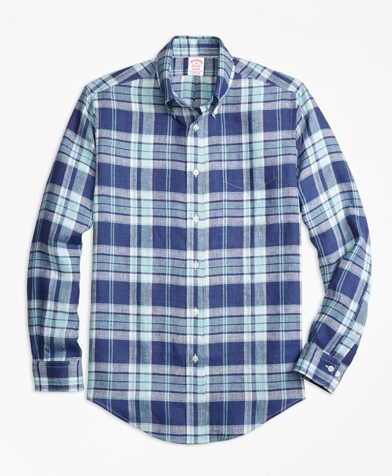 Madison Fit Blue Plaid Irish Linen Sport Shirt Blue