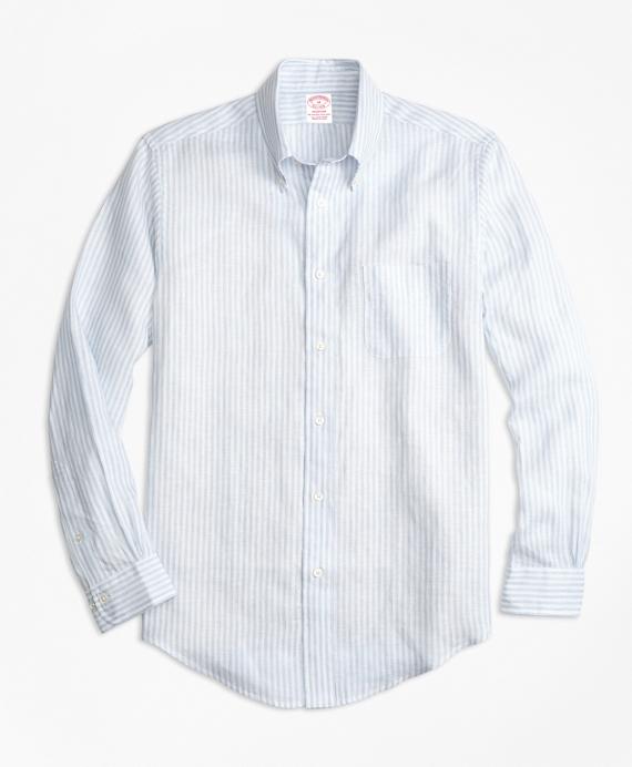 Madison Fit Stripe Irish Linen Sport Shirt Blue
