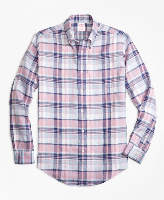 Madison Fit Pink Plaid Irish Linen Sport Shirt Pink