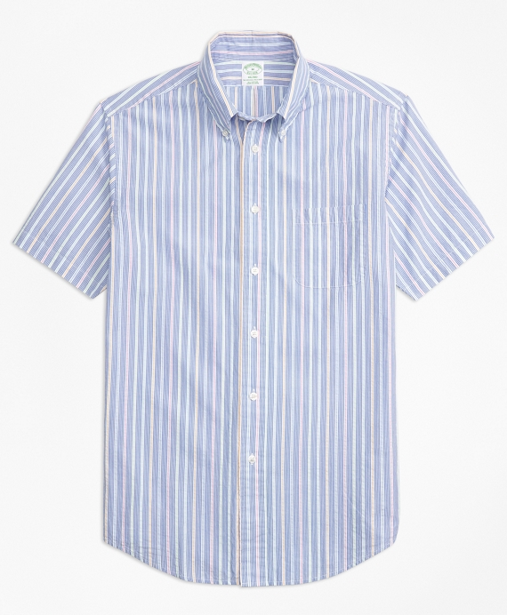 Milano Fit Alternating Stripe Seersucker Short-Sleeve Sport Shirt Blue
