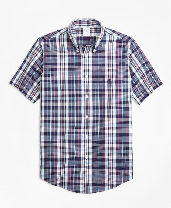 Regent Fit Slub Cotton Plaid Short-Sleeve Sport Shirt Blue