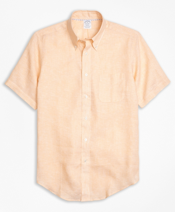 Regent Fit Irish Linen Short-Sleeve Sport Shirt Peach