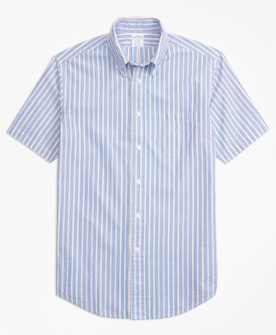 Regent Fit Alternating Stripe Seersucker Short-Sleeve Sport Shirt Blue