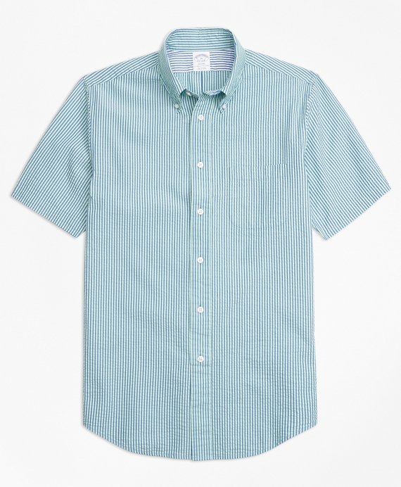 Regent Fit Stripe Seersucker Short-Sleeve Sport Shirt Blue-Green