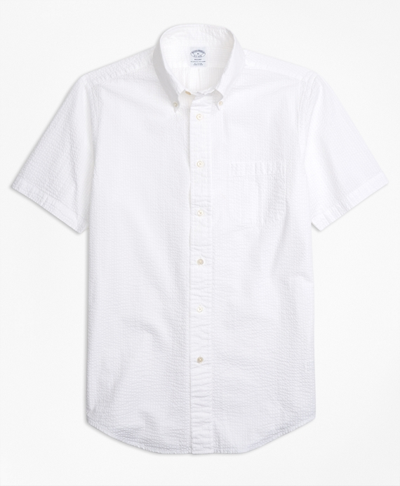 Regent Fit Seersucker Short-Sleeve Sport Shirt White